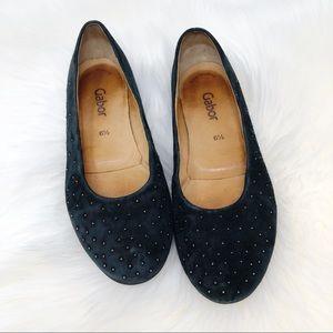 Gabor Studded Black Suede Flats 8.5